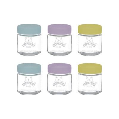 Set van 6 bokalen uit glas voor babyvoeding met silicone deksel 110ml  Kilner