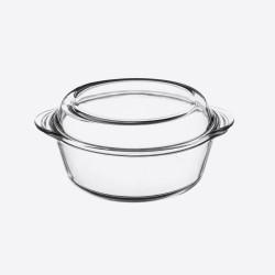 Classic Collection ronde ovenschaal met deksel uit glas 1L