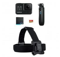 H8 Hard Bundle: GoPro HERO8 Zwart + SD kaart + Headstrap + batterij + shorty