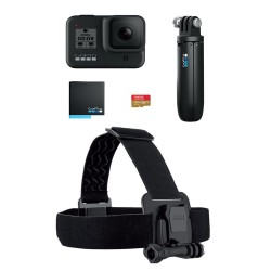 H8 Hard Bundle: GoPro HERO8 Zwart + SD kaart + Headstrap + batterij + shorty  GoPro