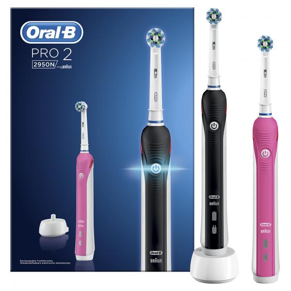 Oral-B Elektrische tandenborstel Pro 2 2950N Zwart + Roze handvat