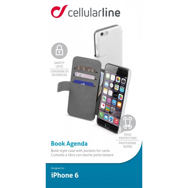 Cellularline Smartphonehoesje iPhone 6s/6 tasje book agenda wit