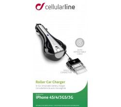 Oprolbare autolader Apple 30 pin zwart Cellularline