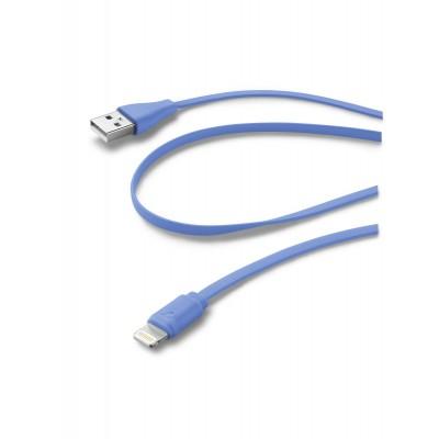 Data câble Apple lightning flat bleu Cellularline