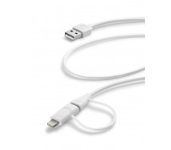 Data kabel dual micro-usb + lightning connector (1m) wit Cellularline