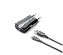 Reislader kit 5W/1A micro-usb Huawei & andere zwart Cellularline