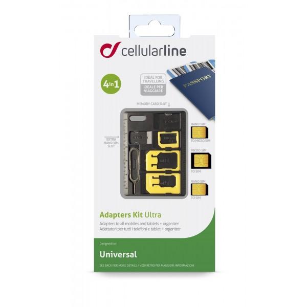 Cellularline Sim adaptor kit  nanosim microsim sim TF zwart