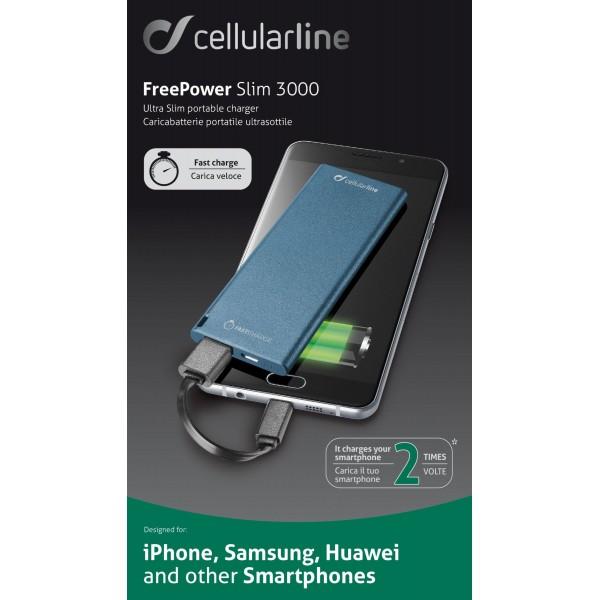 Cellularline Draagbare lader usb free power slim 3000mAh blauw