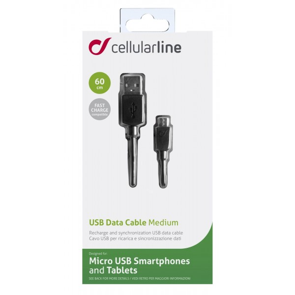 Cellularline USB-kabel Data kabel usb micro-usb snel laden 60cm zwart