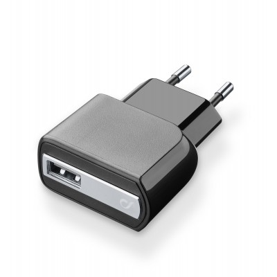 Reislader usb 5W/1A zwart Cellularline