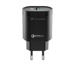 Reislader usb 18W Qualcomm Huawei & andere zwart Cellularline