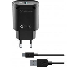 Reislader kit 18W usb-c Qualcomm Huawei & other wit Cellularline