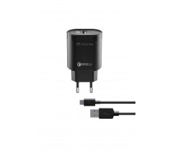 Reislader kit 18W usb-c Qualcomm Huawei & other zwart Cellularline