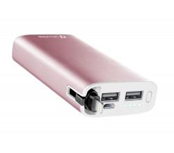 UD draagbare lader usb 6700 mAh Apple roze Cellularline