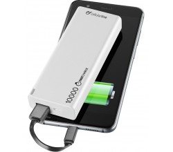Draagbare lader usb free power slim 10000mAh wit Cellularline