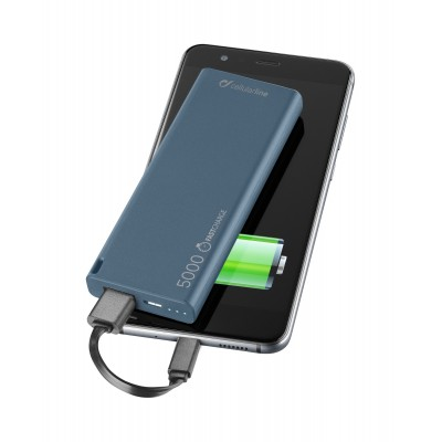 Chargeur portable usb free power slim 5000mAh bleu Cellularline