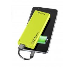 Draagbare lader usb free power slim 5000mAh groen Cellularline