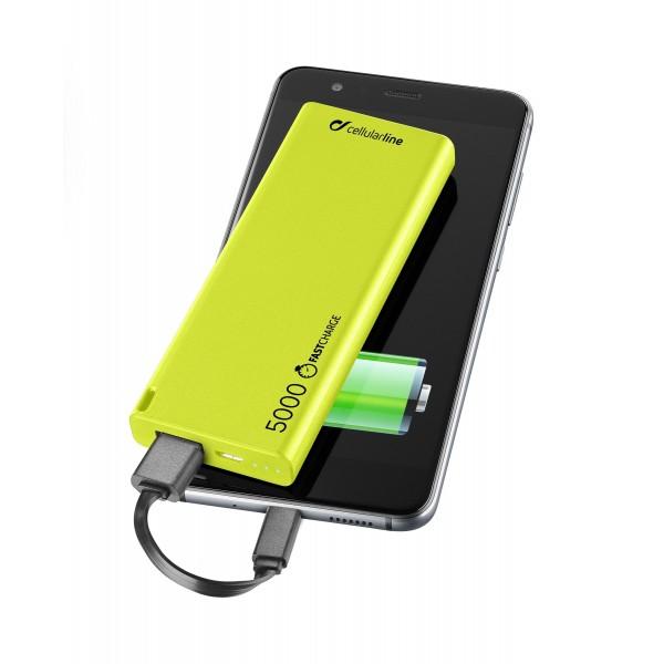 Cellularline Draagbare lader usb free power slim 5000mAh groen