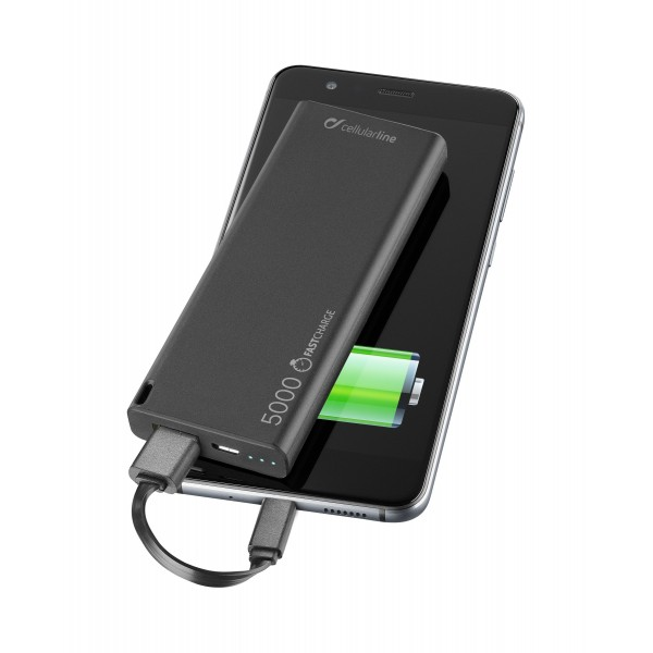 Draagbare lader usb free power slim 5000mAh zwart Cellularline