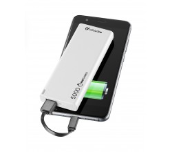 Draagbare lader usb free power slim 5000mAh wit Cellularline
