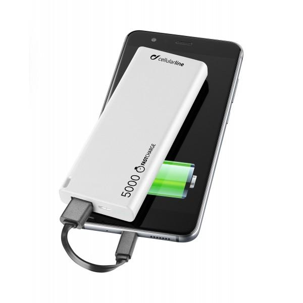 Cellularline Draagbare lader usb free power slim 5000mAh wit