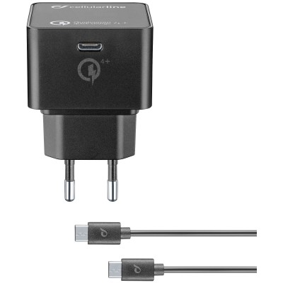 Reislader kit 30W usb-c Qualcomm 4+ zwart Cellularline