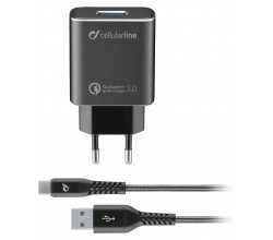 Reislader kit 18W usb-c Qualcomm Huawei & andere tetra force zwart Cellularline
