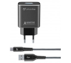 Reislader kit 15W usb-c Samsung adaptive tetra force zwart Cellularline