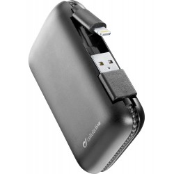 Draagbare lader freepower cable 5000mAh lightning zwart  Cellularline