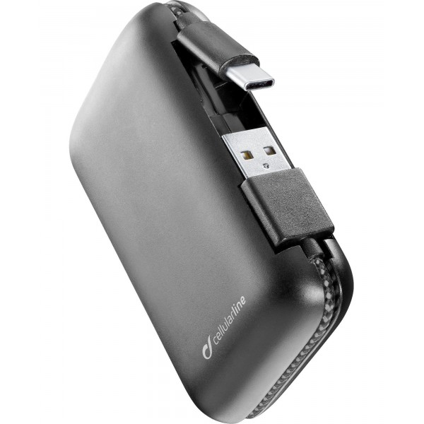 Cellularline Draagbare lader freepower cable 5000mAh usb-c zwart