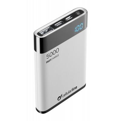 Draagbare lader freepower manta HD 5000mAh wit Cellularline