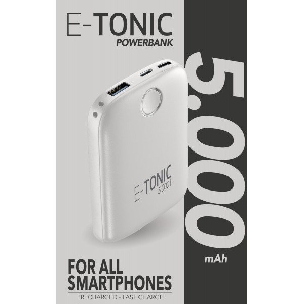 Draagbare lader e-tonic 5000mAh wit Cellularline