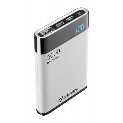 Draagbare lader freepower manta HD MFI 5000mAh wit Cellularline