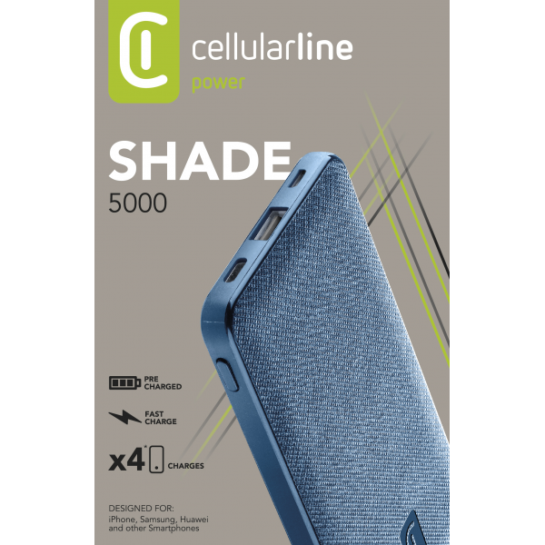 Draagbare lader shade 5000mAh blauw Cellularline