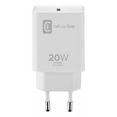 Chargeur secteur 20W PD usb-c iPhone blanc Cellularline