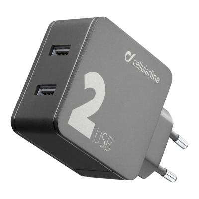 Reislader multipower 2 usb 12W + 12W zwart Cellularline