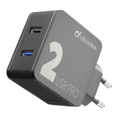 Reislader multipower 2 pro usb 18W QC +  12W zwart Cellularline