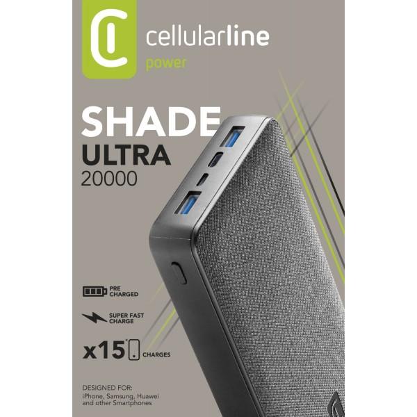 Draagbare lader shade 20000mAh PD zwart Cellularline