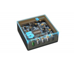 Reislader multipower 4-usb 1 usb-c 60W fast charge multi-brand zwart Cellularline
