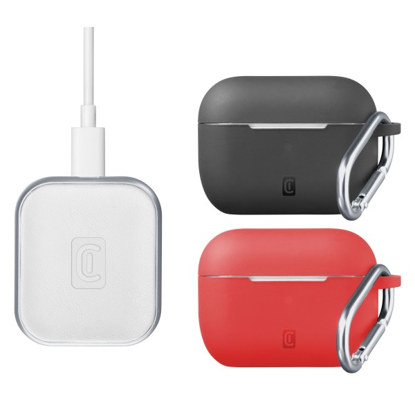 Airpods Pro draadloze lader kit 2 silicone hoezen wit/rood/zwart Cellularline