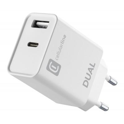 Reislader dual usb-c 20W PD + usb wit Cellularline
