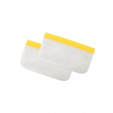 set van 2 herbruikbare vershoudzakken uit Peva geel 290ml
