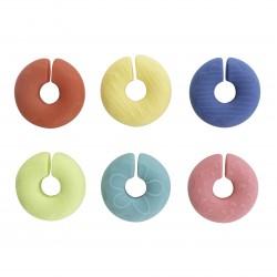 set van 6 glasmarkers uit silicone donut  Dotz