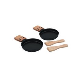 Lumi set van 2 pannetjes voor racletteset met 2 houten spateltjes  Cookut