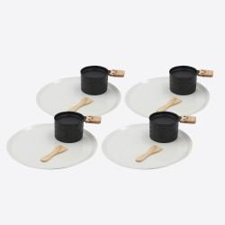 Lumi 4 individuele theelicht raclettesets met 4 borden 10x15x6.2cm  Cookut