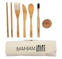 Bam Bam eetset met lepel, vork, mes, tandenborstel, eetstokjes en tandpastapotje uit bamboe