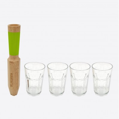 Morry cocktail stamper mojito 4 in 1 met 4 glazen in cadeauverpakking