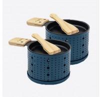 Lumi 2 individuele theelicht raclettesets blauw 10x15x6.2cm
