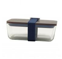 lunchbox uit glas, bamboe deksel en riem donkerblauw