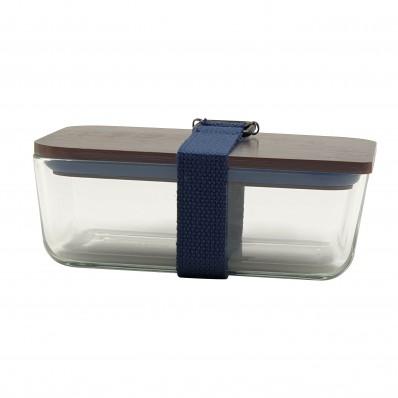 lunchbox uit glas, bamboe deksel en riem donkerblauw 20x12x8cm